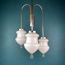 Vintage white murano pendant lamp Italy 1960s MCM space age italian lighting