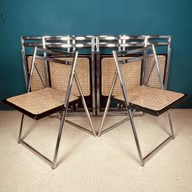 1 of 7 Mid-century folding cane dining chair Italy 1970s italian modern dining chair