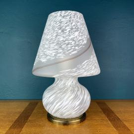 Vintage large swirl murano table lamp Mushroom Italy 1970s italian MCM modern lighting