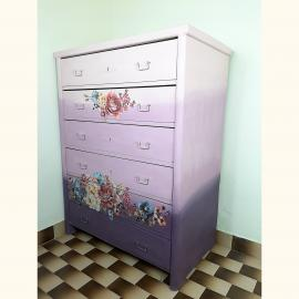 Vintage painted cottage chest of drawers