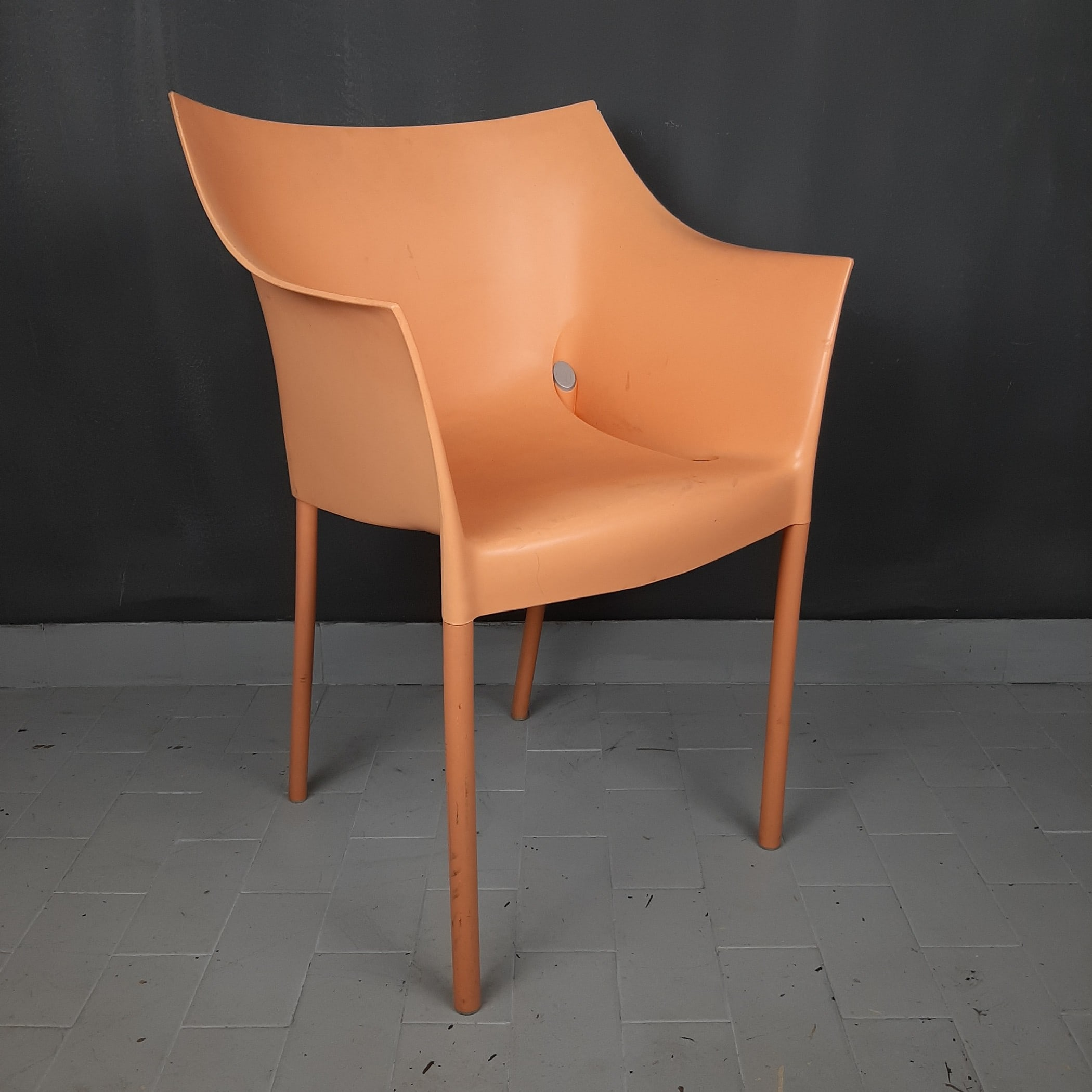 Dr. NO chair designer Philippe Starck for Kartell Italy 1990s apricot chair