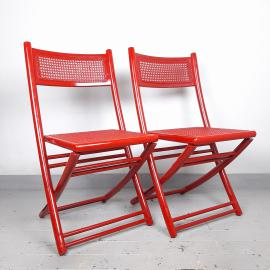 1 of 2 Retro red folding chair with rattan seat Italy 70s Mid-century wooden furniture